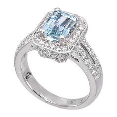 18K White Gold 1.73ct Diamond Aquamarine Ladies Ring $2,465.00