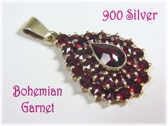 900 Sterling Silver Gold - Bohemian 3 Tier Red Garnet Pendant Necklace - Victorian 30 Rose Cut Garnets Cluster Czech - Estate  FREE SHIPPING by FindMeTreasures on Etsy