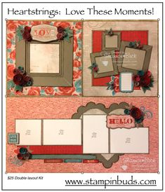 This is my CTMH Heartstrings Scrapbooking Kit I created in 2015.  Instructions are also available on my blog. #Scrapbooking #CTMH #Hearts www.stampinbuds.com