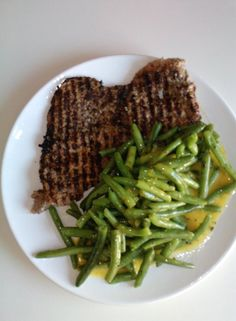 steak and mustard green beans