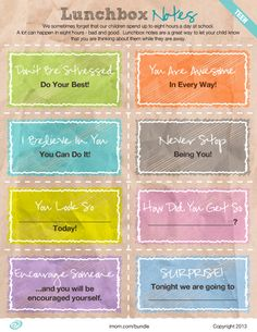 We sometimes forget that our children spend up to eight hours a day at school.  A lot can happen in eight hours - bad and good. Use these notes to brighten up your teen's day! #printable #lunchboxnotes