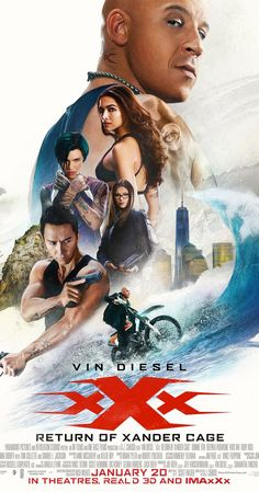 Directed by D.J. Caruso.  With Vin Diesel, Donnie Yen, Deepika Padukone, Kris Wu. Xander Cage is left for dead after an incident, though he secretly returns to action for a new, tough assignment with his handler Augustus Gibbons.