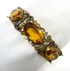 Art Nouveau Costume Bracelet Brass Large Amber Jewels, Shop Rubylane.com