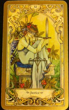Justice from the Mystic Fae tarot set Tarot Card Decks, Tarot Cards, Justice Tarot, Witch Tattoo, Tarot Major Arcana, Tarot Readers, Oracle Cards, Archetypes, Faeries