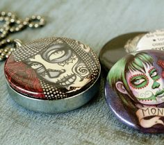 Day of the Dead locket and ring combo by ShayneoftheDead on Etsy, $39.00