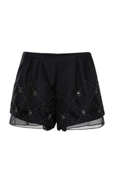 6d0fa48ea969a Chiffon-Trimmed Embellished Shorts by Thakoon Addition Now Available on  Moda Operandi Embellished Shorts,