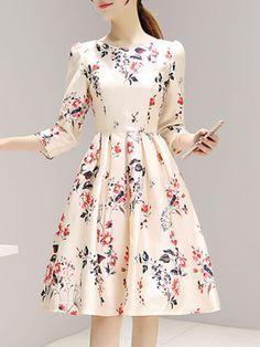 AdoreWe - Fashionmia Round Neck Inverted Pleat Printed Skater Dress - AdoreWe.com