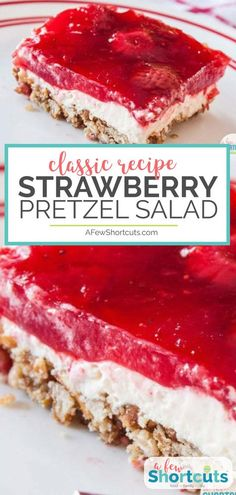 This is a classic sweet and salty dessert recipe! You must try this yummy Strawb… This is a classic sweet and salty dessert recipe! You must try this yummy Strawberry Pretzel Salad Recipe with gluten free option. Brownie Desserts, Mini Desserts, Pretzel Desserts, Jello Desserts, Easy Desserts, Desserts For Easter, Microwave Desserts, Alcoholic Desserts, Strawberry Pretzel Salad
