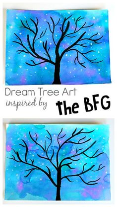 Winter Tree and Starry Night Sky art project for kids! Starry Night Sky Art Project for Kids: Use watercolors to make this nighttime star and tree scene. Perfect for preschool, kindergarten and up! (Can also be transformed into a winter tree. Winter Art Projects, Easy Art Projects, School Art Projects, Projects For Kids, Winter Crafts For Kids, Art School, Kindergarten Art, Preschool Art, Art Activities For Kids