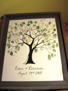 The wedding tree. Who needs a typical signed couple's portrait when guests can create a work of art! Finger prints are so much cuter than signed names) Tree Wedding, Wedding Guest Book, Wedding Signs, Wedding Bells, Rustic Wedding, Wedding Planning On A Budget, Wedding Decorations On A Budget, Budget Wedding, Wedding Ideas