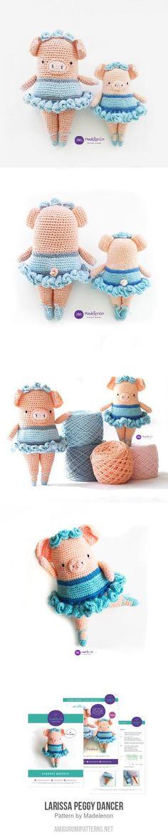 Larissa Peggy Dancer Amigurumi Pattern Crochet Toys Patterns, Amigurumi Patterns, Stuffed Toys Patterns, Crochet Dolls, Knitting Patterns, Cute Crochet, Crochet For Kids, Crochet Baby, Knit Crochet