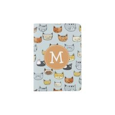 #Cat Face Doodle Pattern with Monogram Passport Holder - #travel #accessories