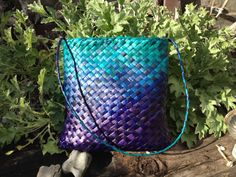 Flax kete, dyed puple and turquoise, 27 x 25 cms