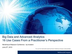 Big Data and Advanced Analytics - 16 Use Cases by McKinsey on Marketing & Sales via slideshare