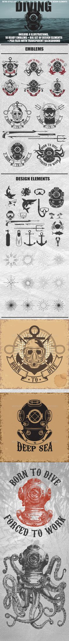 Set of Vintage Diver Helmets, Diver Label Templates and Design Elements - Retro Technology