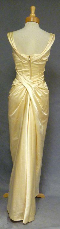 EXQUISITE Ceil Chapman Oyster Satin 1950's Evening Gown VINTAGEOUS VINTAGE CLOTHING