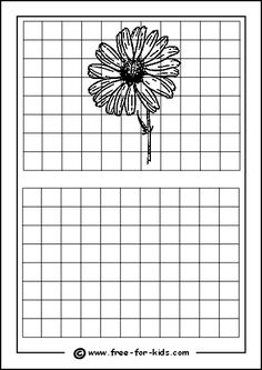 Practice Drawing Grid with Flower