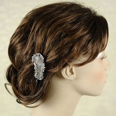 PEACOCK - Vintage Inspired ART DECO Feather Bridal Hair Comb or Clip, Wedding Hair Accessory