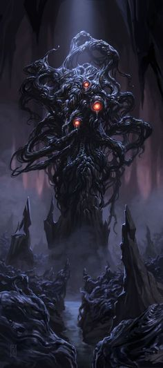"""Shoggoth was a massive amoeba-like creature made out of iridescent black slime, with multiple eyes """"floating"""" on the surface. They are described as """"protoplasmic"""", lacking any default body shape and instead being able to form limbs and organs at will."""