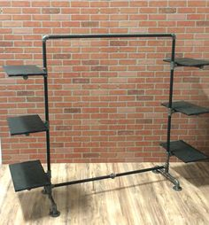 Clothing Rack - Industrial Pipe Clothing Rack with Wood Shelving - Black Pipe…