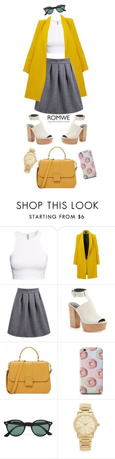 """""""Romwe: High Waist Skirt"""" by tharwawajihahzainal ❤ liked on Polyvore featuring H&M, Rebecca Minkoff, Ray-Ban, Michael Kors, women's clothing, women, female, woman, misses and juniors"""