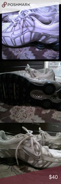 Ladies blue and white leather Nike running shoes Only worn several times. Nike Shoes Athletic Shoes