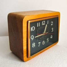 Vintage Wood Alarm Clock by General Electric, 1960s