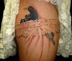 Love the white ink on this one! with a revolver not a tattoo gun