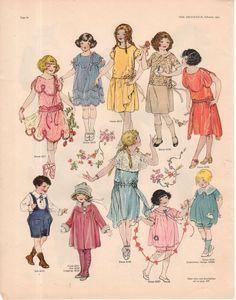 1923 Delineator Print - Children's Dresses, Suits, Leggings, Hat,Women's Dresses