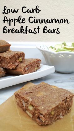 Another alternative to a keto or low carb breakfast that isn't just eggs - low carb apple cinnamon breakfast bars! These are grain free and gluten free. Breakfast Bars Healthy, Diabetic Breakfast, Low Carb Breakfast, Atkins Breakfast, Breakfast Ideas, Eggs Low Carb, Low Carb Keto, Low Carb Bars, Low Carb Desserts