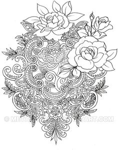 Lace Tattoo by Metacharis   *   Rose Bouquette Color Coloring pages colouring adult detailed advanced printable Kleuren voor volwassenen coloriage pour adulte anti-stress kleurplaat voor volwassenen Line Art Black and White Abstract Doodle Zentangle ZenDoodle Paisley
