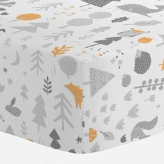 Crib Fitted Sheet in and Light Orange and Silver Gray Baby Woodland by Carousel Designs.