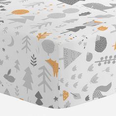 Light Orange And Silver Gray Baby Woodland Crib Sheet