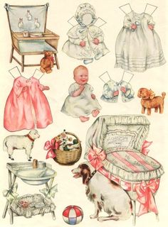 paper baby doll and accessories