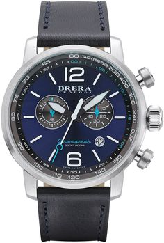 Brera Dinamico Chronograph Watch, Stainless Steel/Navy, Brera Dinamico watch features brushed/polished stainless steel case with Italian calf leather strap.