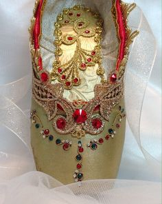 Nutcracker Arabian decorated pointe shoe. Ready by DesignsEnPointe