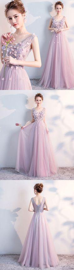 Cute v neck tulle long prom dress, evening dress