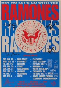 RR Auction: Auction of Joey Ramones memorabilia incl signed Ramones posters fr. Tour Posters, Event Posters, Music Posters, Funny Vintage Ads, Larry Clark, Rock Band Posters, Vintage Concert Posters, Music Albums, Ramones