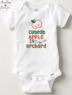 Cutest Apple in the Orchard Halloween Fall Thanksgiving Onesie - Baby Toddler Short / Long Sleeve Onesie or Toddler/Kids Shirt by AweBeeDesigns on Etsy