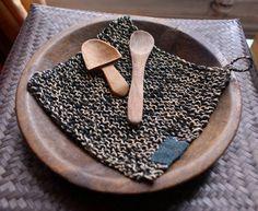 table mat/pot holder/ hot pad hand knitted in linen di lesamovar