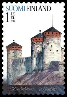 Olavinlinna ( literally St. Olaf's Castle ) is a 15th-century three-tower castle located in Savonlinna, Finland . Old castles . Post stamp from Finland , circa 2014 .
