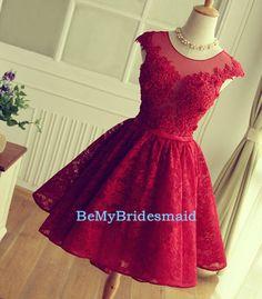 wine red lace homecoming dress, #homecomingdresses, #shortpromdresses, #laceformaldresses