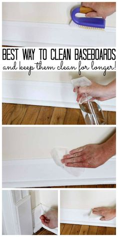 Way to Clean Baseboards - and keep them clean! The best way to clean baseboards and keep them clean for longer!The best way to clean baseboards and keep them clean for longer! Deep Cleaning Tips, House Cleaning Tips, Natural Cleaning Products, Cleaning Solutions, Cleaning Hacks, Spring Cleaning Tips, Clean House Checklist, Kitchen Cleaning Tips, Organize Cleaning Supplies