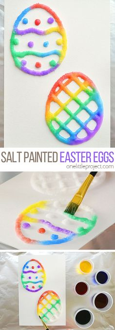These salt painted Easter eggs are such a fun and easy craft idea for spring time! With a little bit of salt and glue you end up with colorful puffy paint like shapes with an awesome texture! They even stay puffy after they dry. Cut out the eggs to make an Easter basket craft, or you can make cute DIY Easter cards! This is such a great Easter craft for kids!