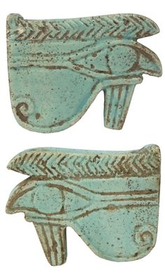 "Ancient Egypt. Glazed faience double-sided Eye of Horus pendant. 18th Dynasty. 1570 - 1342 BC (2 ½"" x 2"")"