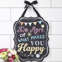 Do What Makes You Happy Wall Décor   Eeseeagans Online on WeShop What Makes You Happy, Are You Happy, Quality Quotes, Fun Signs, Black Ribbon, Wall Décor, Inspirational Gifts, Pink Yellow, Wooden Signs