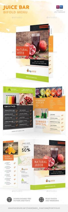 Buy Juice Bar Bifold / Halffold Menu 2 by Mike_pantone on GraphicRiver. *Save with Bundle! Juice Bar Menu Print Bundle 2 is also available.Juice Bar Bifold / Halffold Menu 2 Clean and moder. Food Menu Template, Restaurant Menu Template, Restaurant Menu Design, Menu Templates, Juice Bar Menu, Drink Menu, Steak House Menu, Menu Flyer, Menu Restaurant