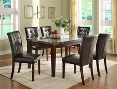 Homelegance Decatur 7 Piece Dining Table Set in Espresso * To view further for this item, visit the image link. Marble Top Dining Table, Solid Wood Dining Set, 5 Piece Dining Set, Dining Room Sets, Dining Table In Kitchen, Dining Room Design, Dining Room Furniture, Room Kitchen, Dining Tables