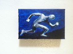"""RUN""  4"" x 6"" x2"" acrylic on canvas  , original art by jack larson #Abstract"