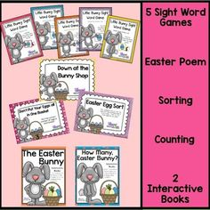 Everything you need for Easter work stations, this mega bundle includes 10 separate activities:  2 Interactive books 5 sight word games Easter poem Sorting Counting